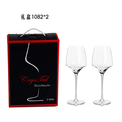 Red wine glass 24 color box with decanter Western wedding wine glass home gifts transparent high-end crystal red wine glass set@Two packs 1082 * 2 -