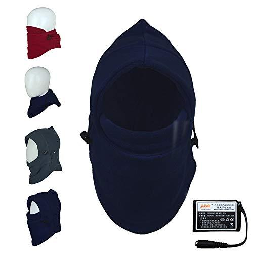 Multi-function elettrico balaclava scaldacollo, passamontagna moto riscaldante usb, prima e dopo la febbre, cappelli per uomo inverno per gli sport all'aperto, dimensione universale,blue