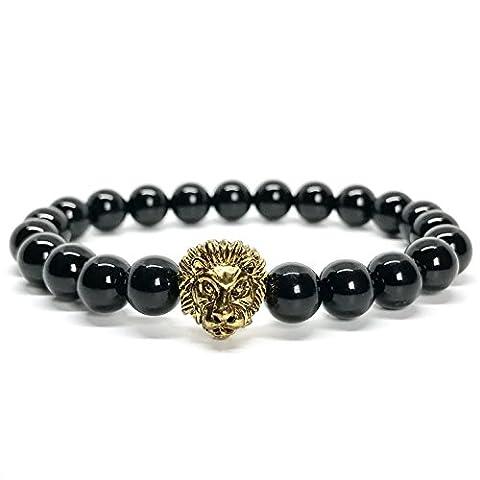 good. Designs Lion, natural stone & Bead Bracelet Elegant Lion Head Beads Chakra Yoga Jewellery for Men and Women Bracelet, Onyx /
