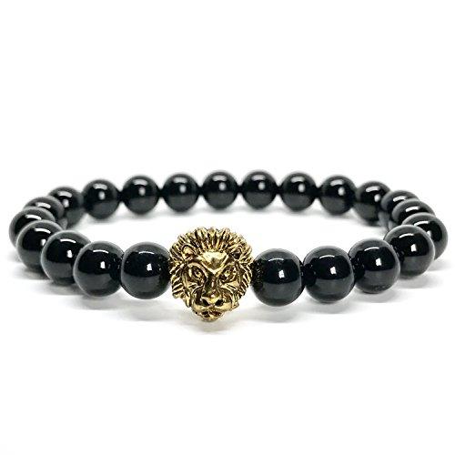 GOOD.designs Löwen Perlenarmband aus echten Natursteinen und edler Löwenkopf Perle, Chakra-Schmuck für Damen und Herren, Yoga-bracelet (Onyx / Gold)