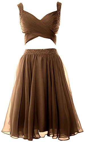 MACloth Women 2 Piece Prom Homecoming Dress Mini Chiffon Formal Evening Dress Braun