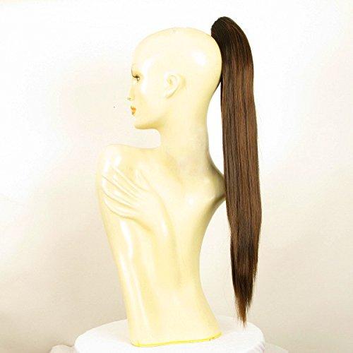 Postiche queue de cheval femme chocolat méché cuivré longue lisse 65 cm ref 7 en 6h30