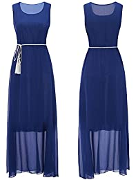 Conquro-vestidos de Encaje sin Mangas de Gasa de Color sólido de Las Mujeres  Vestido 375af29759c