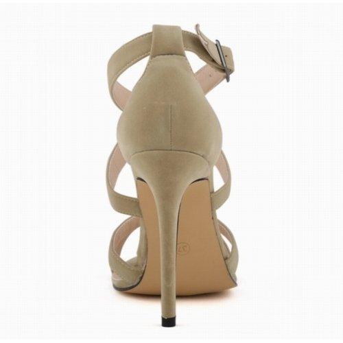 ANGATRADE - Sandales BRETELLES, Sandales femme haut talon, Sandales de soirée, Sandales mode 2016, Chaussures confortable, Sandales de Gala - Sandales BRETELLES Sable