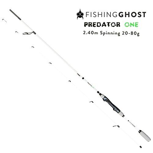 FISHINGGHOST® PredatorOne Hechtrute 2,40m, 20-80g - Angelrute -Spinnrute -Steckrute - direkte Kraftübertragung beim Angeln auf Hecht, Zander, Dorsch, Seeforelle, Lachs