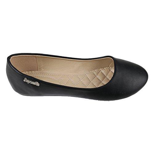 Klassische Damen Ballerinas | Flats Leder-Optik Lack | Metallic Schuhe Glitzer Schleifen | Ballerina Schuhe Übergrößen Schwarz Glatt