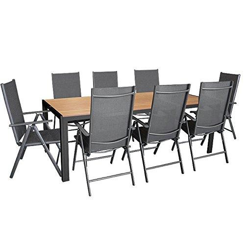 9tlg. Sitzgarnitur, Aluminium Gartentisch Tischplatte aus Polywood 205x90cm, 8x Aluminium-Hochlehner mit 2x2 Textilenbespannung, 7-fach verstellbar, klappbar, anthrazit - Sitzgruppe Gartengarnitur Gartenmöbel
