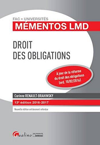 Mémentos LMD - Droit des obligations 2016-2017