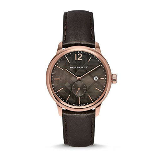 Burberry Men's BU10012 Check Stamped Round Dial Watch, 40mm - Chocolate Brown/ Rose Gold