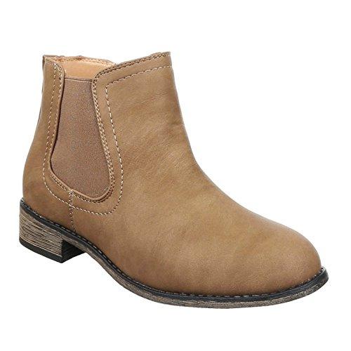 Damen Chelsea Boots Stiefeletten Flache Schlupfstiefel Schuhe 13 Khaki