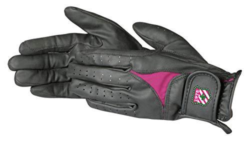 Pfiff 101853 Damen Reithandschuhe, Kunstleder Damenhandschuhe, Schwarz - Pink S