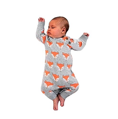SHOBDW Boys Rompers, Newborn Girl Fashion Cute Fox Print Warm Long Sleeve Jumpsuit Infant Baby Spring Autumn Clothes