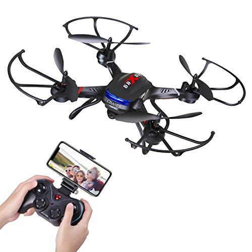 Holy Stone F181W WIFI FPV Drohne mit HD Kamera, RC Drone 720x, RC Quadrocopter Ferngesteuert RC Helikopter mit 120° FOV Weitwinkelobjektiv, Echtzeit-Bildübertragung, Automatischer Höhenhaltung, Kopfloser Modus, Start/Landung mit einem Knopfdruck, Ein-Knopf-Rückkehr, Mehrfache Geschwindigkeitskontrolle, Geeignet für Kinder, Anfänger und Meister