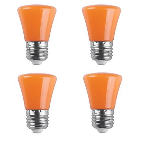 AWELIGHT 4 Stück LED Farbige Leuchtmittel 2W LED Weihnachten Partybeleuchtung farbig Lampe E27 Birne Beleuchtung Glühbirne für Zuhause Dekoration Garten Bar Party KTV Magische Atmosphäre (Orange)