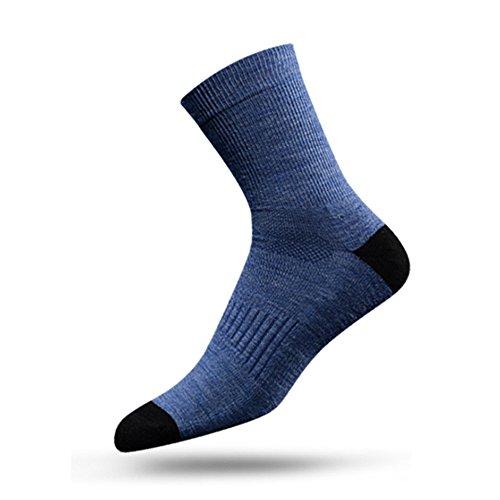 MEIKAN Men's Thick Heat Merino Wool Socks Full Cushion Crew Socks Athletic Socks Light Blue (Crew Sport Cushion Full Socke)