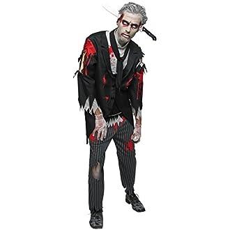 Bloody Zombie Butler pour homme Déguisement Halloween horreur adultes Costume - Multicolore - XL