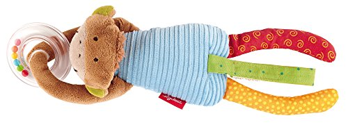 sigikid, Jungen und Mädchen, Aktiv-Anhänger Affe mit Rassel, Bunt, 40775 (Kette Stofftier Spielzeug)