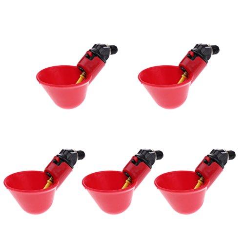 Baoblaze Confezione Da 5 Mangimi Automatici Per Uccelli Pollame Galline Pollo Anatra Bevitore Acqua Potabile Tazze (rosso)