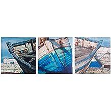 Cuadro tríptico decorativo para salón sobre lienzo de barcas Hogar y mas