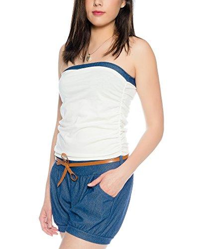 Kendindza Damen Kurz Overall Playsuit Jumpsuit Shorts Einteiler Gemustert Uni Weiß