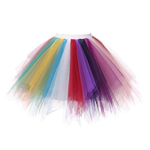 Honeystore Damen's Neuheiten Tutu Unterkleid Rock Ballet Petticoat Abschlussball Tanz Party Tutu Rock Abend Gelegenheit Zubehör Regenbogen
