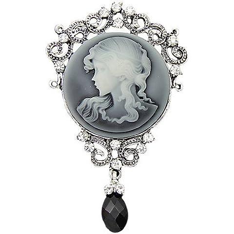 argento antico moda d'epoca pin spilla gioiello regina spille strass goccia d'acqua delle donne per il regalo delle donne