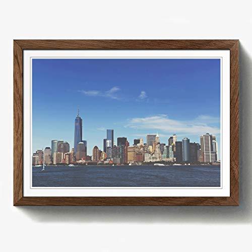 Manhattan-walnuss (BIG Box Art Manhattan New York mit Himmel in blau mit schwarzem Rahmen, Mehrfarbig, A2, 24,5x 18_ P, Holz, walnuss, 24.5 x 18-Inch)