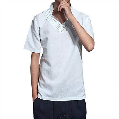 Herren Sommer T-Shirt Stehkragen Regular-Fit Casual Baumwolle-Leinen,Männer Kurzarm Leichte Atmungsaktives Bequem -