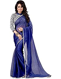 Yashvi Arts Women's Latest Designer Party Wear New Collection Blue Georgette Bollywood Saree For Women With Unstitched...