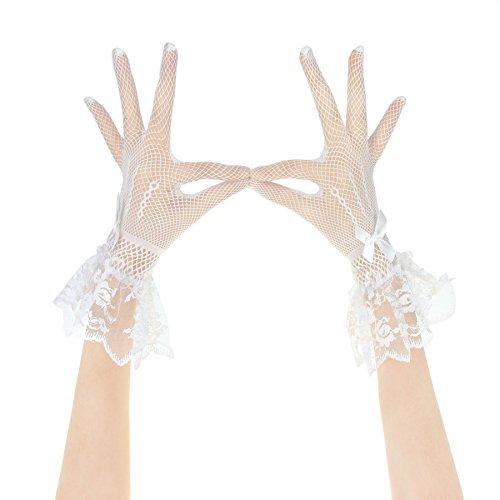 Gants de Mariage Courtes en Satin Accessoires Robe Mariage Mitaines Mariée/Soirée/Fête Gants Wedding de Dentelle Beau Elégant avez N½uds Papillon pour Femme Fille Blanc