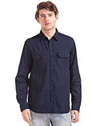 GAP Mens Casual Shirt (142194300006_32255481000_X-Small_Dark Indigo)