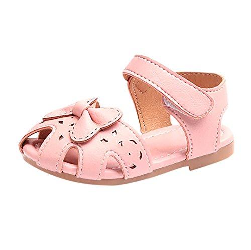 FEITONG Kinder Sandalen | Bequeme Schuhe für Mädchen | Sommer Bowknot Sandalen Hollow Turnschuhe Freizeitschuhe Aquaschuhe (CN 24, Rosa)