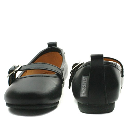 LINA Step2wo School Shoe Front Strap for Girls >      > Schulschuh für Mädchen Black Lea (Schwarz)