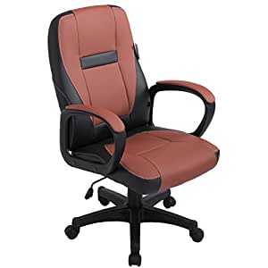 Brand New Design swivel Perforated PU Leather Brown Color Office Chair MOO19BK