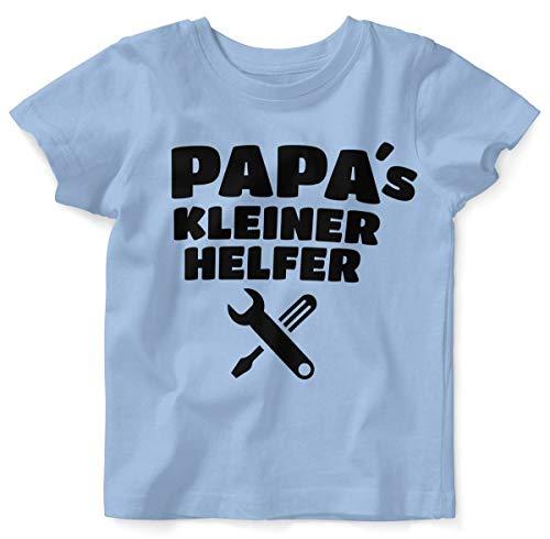 Mikalino Baby/Kinder T-Shirt mit Spruch für Jungen Mädchen Unisex Kurzarm Papas Kleiner Helfer | handbedruckt in Deutschland | Handmade with Love, Farbe:Sky, Grösse:80/86