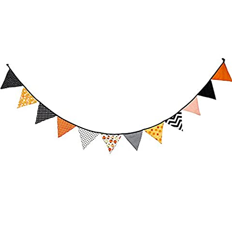 12 Flags Cotton Fabric Bunting Flags Garland Cloth Flag Pennant Cotton Decorative Garland Wedding / Birthday / Baby Shower Party Decoration