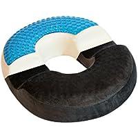 bonmedico® almohada en rosquilla/anillo ortopédica con innovador cojín de gel para el alivio de hemorroides (almorranas) y dolor o malestar en el cóccix, apta para sillas de ruedas, asientos de coche, casa, oficina o de para viajar, en negro