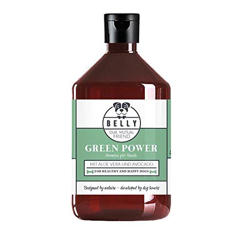 Hundepflege Shampoo Green Power von Belly in der 500ml Flasche | Natur Pflegeshampoo mit Aloe Vera und Avocade | Hund Shampoo mit Kokosextrakt für schönes Fell