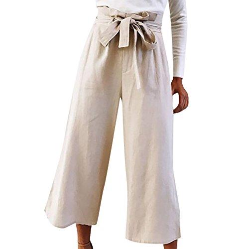 YWLINK Damen Freizeit TäGlich Hohe Taille Bogen Mode Frauen Palazzo Hosen(S,Khaki)