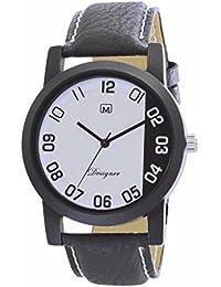 Om Designer Analogue White Dial Analogue Black Belt Watch For Mens & Boys OM2525