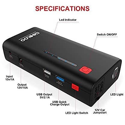 GOOLOO Arrancador de Coches – 18000mAh 800A (hasta 7.0L en Gas o 6.5L en Diesel) y USB 3.0 Salida (Carga rapida) Arrancador de Baterias de Coche Arrancador Coche/Diesel Para Coche, Moto, Barco y Más