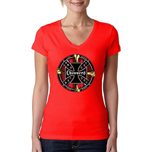 Biker Girlie V-Neck Shirt - Choppers - Life Death Love Bikes by Im-Shirt Rot