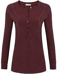 8593ab8a073 HOTOUCH Femme Tops à Manches Longues T-Shirts Basique Col Bouton ...