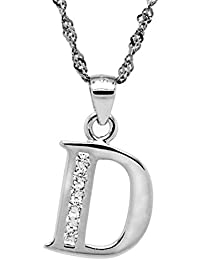 Chaomingzhen Schmuck 925 Sterling Silber Rhodiniert CZ Alphabet Anfangs Buchstabe D Anhänger Halskette für Damen Männer