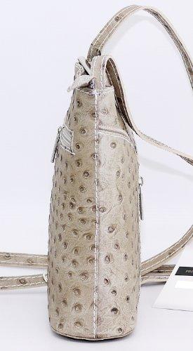 Effet d'autruche ou finition lisse petite Croix corps ou sac à main fait main en cuir italien.Comprend un sac de rangement protecteur marque. Autruche Beige