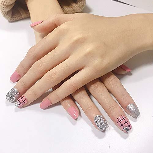 Unghie di finto diamante rosa a quadri 24 pezzi di 12 diverse dimensioni di unghie finte