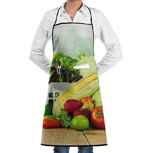 QIAOJIE Lätzchen Schürze, Taschen, Gemüse, Gurken, Tomaten, Kohl, Pfeffer, Mais, langlebig, Kochen, Küchenschürzen, Dosen-Stickerei