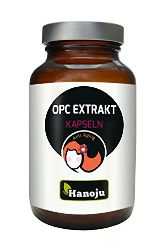 Hanoju OPC Trauben-Extrakt 400 mg 90 Kapseln - Nahrungsergänzungsmittel mit dem Traubenextrakt - Laktose & Zuckerfrei (Pulver Haut Trauben)