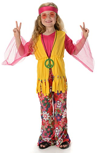 Price comparison product image Peace Hippie Girls Fancy Dress 1960s 70s Hippy Childrens Kids Childs Costume New (Large 8 -10 Years)