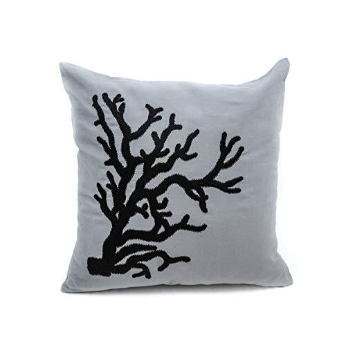 Andrea1Oliver Korallen dekorative Throw Kissenbezug grau Leinen schwarz Korallen Stickerei Couch Kissen Dekoration nautischen Dekor Beach House Decor